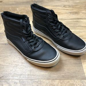 Vans leather hi top sneakers zip back 6